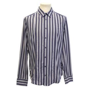 Hugo Boss navy and grey stripes shirt