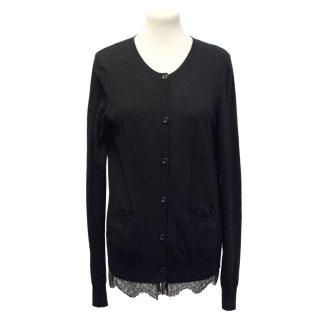 Maillle Clu black cardigan with lace hem