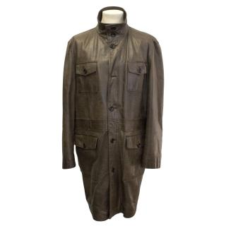 Farhi brown leather jacket with front pockets
