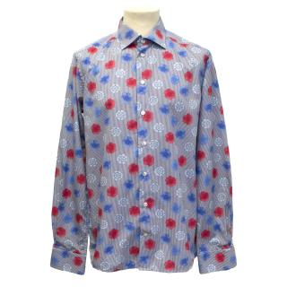 Eton navy and white fine striped shirt with red and blue flowers