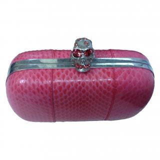 d85a564edf Alexander McQueen pink python skin clutch bag. Never Worn