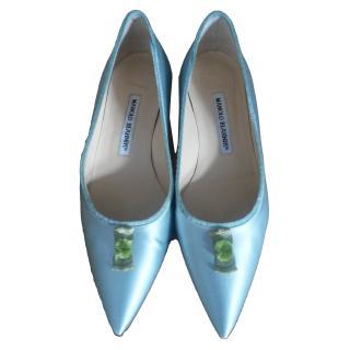 Manolo Blahnik mint satin court shoes edited