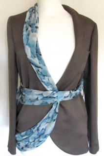 UNGARO silk jacket with PEBBLE print scarf EUR 38 NEW