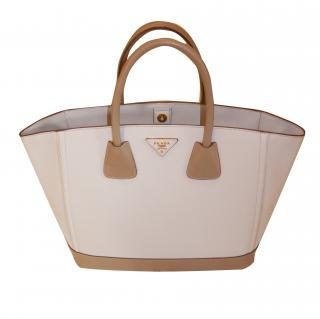 Prada Off White Saffiano Leather Large Tote