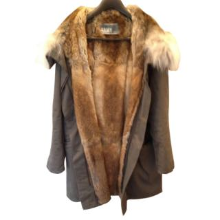 Rabbit fur lined Yves Salomon parka NEW