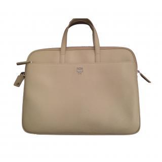 MCM beige leather women's briefcase