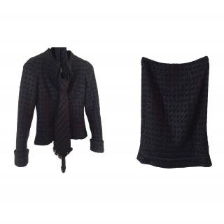 Chanel Black Suit (jacket, tie and skirt)