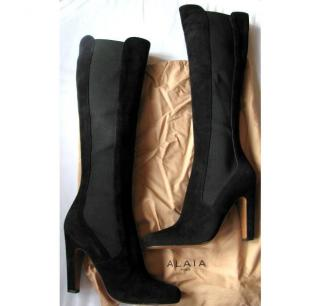 Alaia Suede Knee High Boots