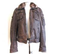 D&G Brown leather with fur collar jacket