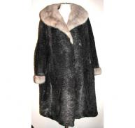 Astrakhan and mink collar & cuffs coat