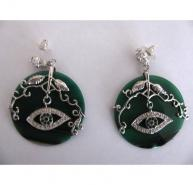 Butler and Wilson Emerald Green Earrings