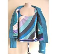 Pucci Turquoise Leather Jacket and Silk Top