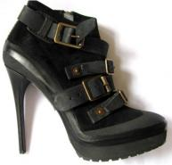 Burberry Suede & Leather Buckle Ankle Boots