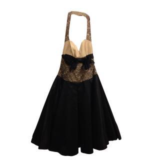 Gustavo Cadile Silk & Lace Navy Cream Halter-neck Ballgown