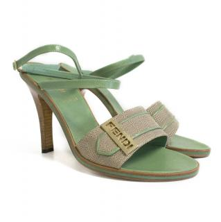 Fendi Mint Green Monogram Sandals