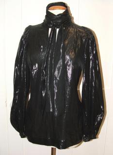 JAEGER shiny black blouse, size 10
