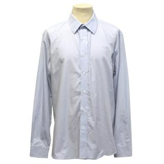 Yves Saint Laurent White and blue pinstriped shirt
