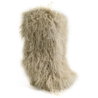 Robert Clergerie beige shearling boots
