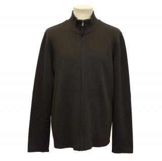 Prada Mens Brown Zipped Cardigan
