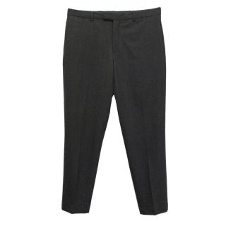 Prada men's dark grey wool trousers