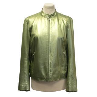 DKNY metallic green biker jacket