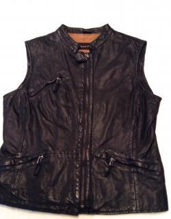Massimo Dutti navy leather waistcoat