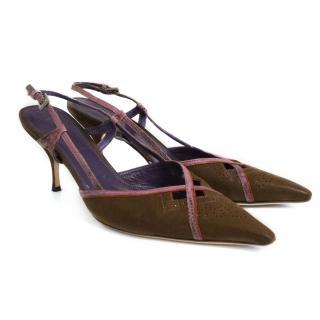 Prada snakeskin slingback heels