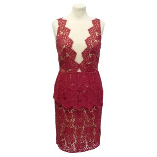 Adriana Minari red peplum lace dress