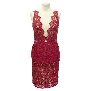 Adriana Minari red peplum lace dress