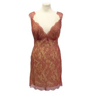 Adriana Minari red lace dress