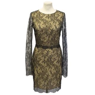 Adriana Minari long sleeve black french lace dress