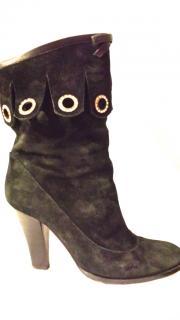Pollini Black Suede Boots