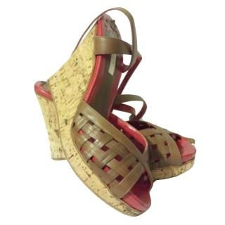 Pollini Brown Cork Wedges