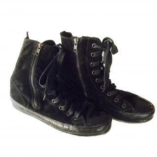 Ann Demeulemeester suede high top sneakers