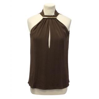 Gucci brown halter neck top