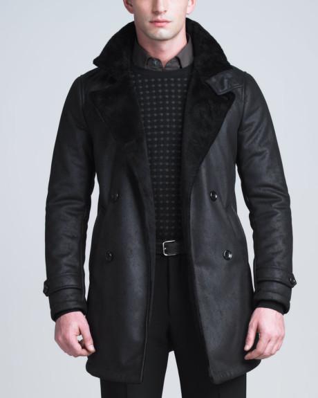 Armani black shearling coat