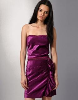 Diesel black gold dameri purple velvet bustier frill dress