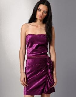Diesel black gold dameri purple velvet bustier frill dress