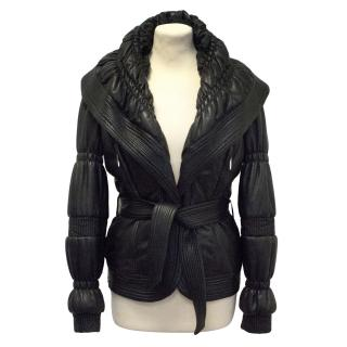 Gianni Versace black leather puffer jacket