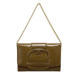 Sergio Rossi brown leather clutch