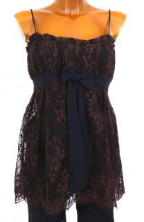 Escada Brown Lace Party Top with Black Bow