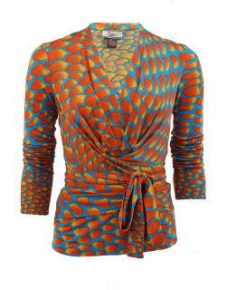 ISSA Multicolor Long Sleeve Print Jersey Wrap Top