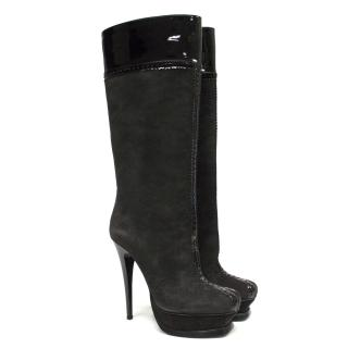 Yves Saint Laurent black knee boots