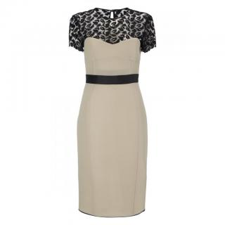 Giles Deacon Runway Taupe and Black Lace Evening Dress
