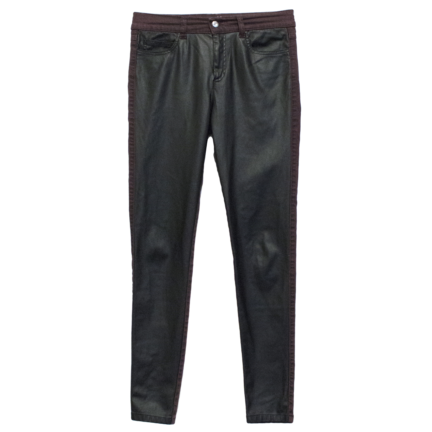 McQueen leather patch jeans