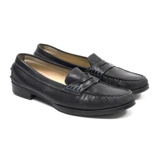 Tods Black Leather Loafers