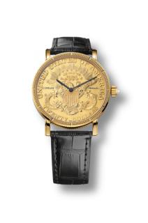 Corum Twenty Dollars two face gold watch with crocodile strap