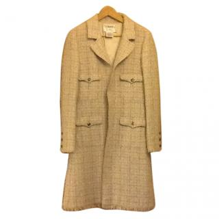 Chanel Pink Grey Tweed Coat