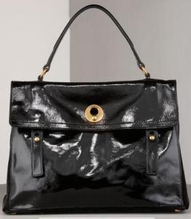 YSL Black Patent Large Muse 2 Bag