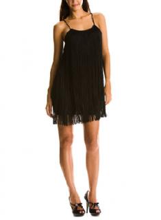 Armani 1920s Flapper Black Fringe Dress UK10/ 38